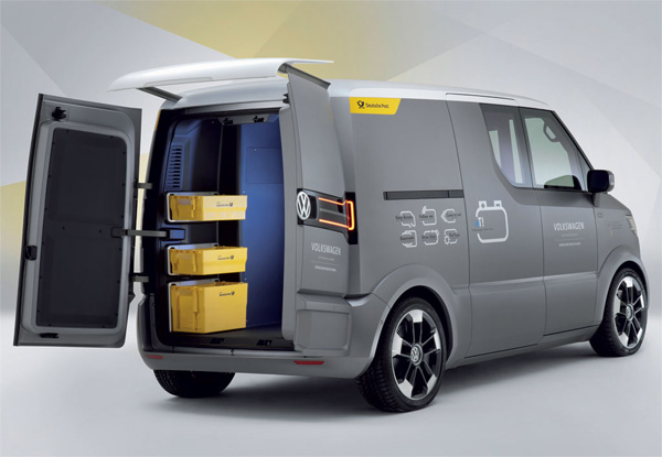 volkswagen et l utilitaire lectrique des postiers. Black Bedroom Furniture Sets. Home Design Ideas