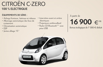 Offre promotionnelle – La Citroën C-Zero à partir de 16.900 € TTC batterie incluse - Photo 1