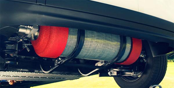 Une bonbonne d'1.5 kg d'hydrogène permet de doubler l'autonomie du Kangoo ZE.