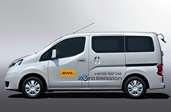 nissan exp rimente l utilitaire lectrique env200 avec dhl au japon. Black Bedroom Furniture Sets. Home Design Ideas