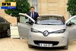 Arnaud Montebourg au volant de la Renault Zoé ZE